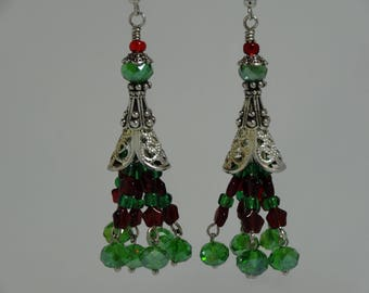 Dangle earrings, gift for her, stocking stuffer, red green and silver