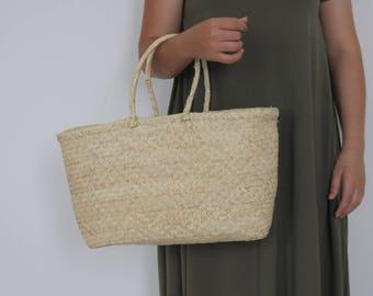 Straw bag with handles, boho bag, handmade purse, summer handbag, beach bag, handmade.