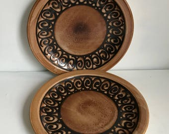 Two large Iden Pottery Dinner Plates
