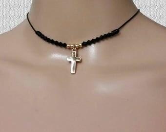 Black Leather Choker Women Necklace, Gold Cross Charm Pendant Choker, Choker for Women, Dainty Choker Necklace, Valentine's Day Gift for Her