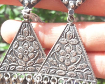 Gypsy Tribal Earrings Antique Rajasthani Silver. Triangle Flowers