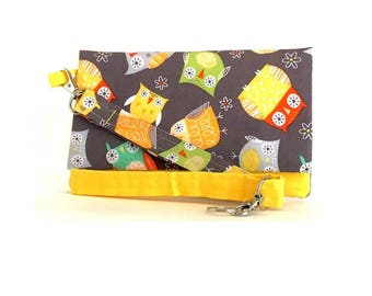 Closeout - Yellow and Gray Owls Cell Phone Wallet and Wristlet