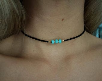 Beaded turquoise and black choker