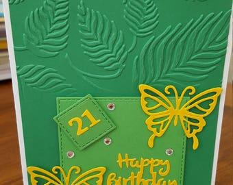 "Handmade Green Card 21st Happy Birthday 7""x5"""