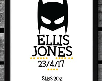 Personalised Batman Nursery Print