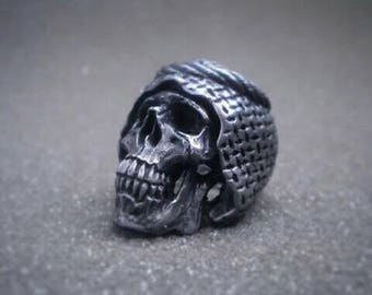 Arabic syareef skull ring, rock the casabah, islamic middle east style rings, handmade rock and roll pewter jewelry