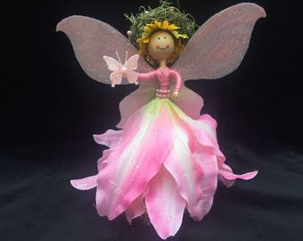 Pink Flower Petal Fairy Doll, Pink Fairy, Flower Garden Fairy, Fairy Garden, Miniature Fairy, Collectible Fairy, Miniature Doll, Woodland