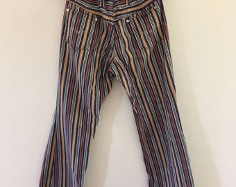 Vintage 1970s Maverick Style Plaid Pants Navy, White, Tan, and Maroon