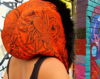 Orange Vintage Retro 1970's Floral fabric with a Black Faux Fur Hood