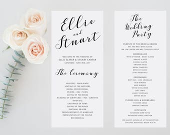 Printable Wedding Ceremony Program, Printable Wedding Program, Minimalist Modern Simple Wedding Printable, Customized For You, 4x9""