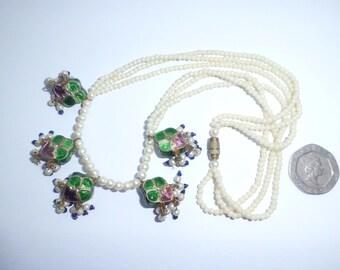 Antique Edwardian Faux Pearl & Enamel Suffragette Necklace