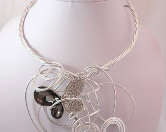 Stunning Silver wire necklace.Delicate butterfly.Modern bib necklace.