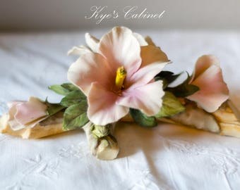 Italian Capodimonte Porcelain Flowers,  Two Light Pink Flowers and Three Pink Flower Buds On Branch Centerpiece