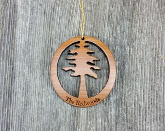 10 Wood Christmas Ornaments Redwood Tree Oval California Redwoods Laser Cut Handmade Wood Ornament Made in USA