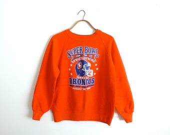 Vintage Denver Broncos Sweatshirt---1987 Superbowl XXII---Bright Orange---Size XS/S---Raglan Sleeves
