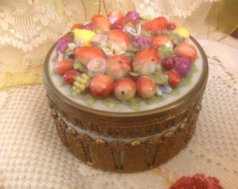 Antique Ormolu Porcelain German Dresden Elfinware Hand Painted Fruit Casket Dresser Jar Trinket Box