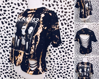 Blink 182 Shredded Shirt - Shirt, Bleached, Distressed Shredded Shirt, Tee, Band Shirt, Repurposed, Vintage Inspired, Reworked