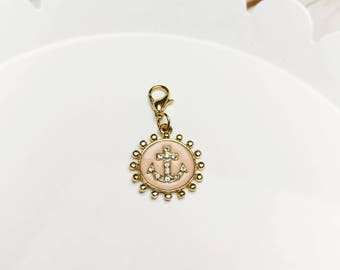 Light Pink with Rhinestones Nautical Anchor Charm