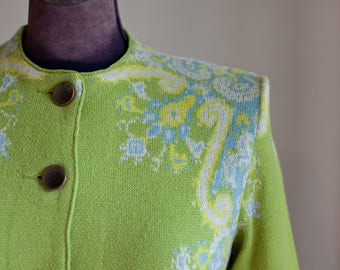 Vintage Catalina jacquard cardigan, Stunning vintage sweater, lime green cardigan sweater, paisley design sweater, ladies vintage jacquard