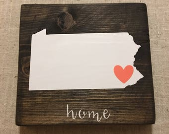 """Pennsylvania """"Home"""" Reclaimed Wooden Sign with Coral colored Heart"""