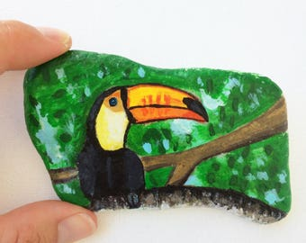 Toucan Hand painted on stone with acrylics and finished with varnish, unique art decor