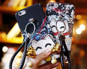 Handmade Crafted Japanese Cat Phone Case