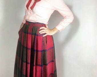Vintage Pleated Tartan Wool Jack Winter Skirt sz 10