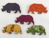 Elephant magnet; Rhino magnet; Hand made: Decoupage; African fabric