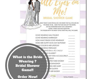 What is the Bride Wearing Bridal Shower Game - African American Bridal Shower Game Download - Bridal Shower Bingo Game -Purple