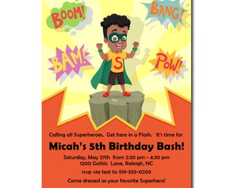 African American Birthday Party | Superhero Birthday Party | African American Super Boy | Party Invitations for boys | Kid Party theme