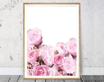 Roses Wall Decor, Flowers Print, Large Printable Digital Download, Gift For Her, Flower Photography, Pink and Black Bedroom Decor, Wall Art