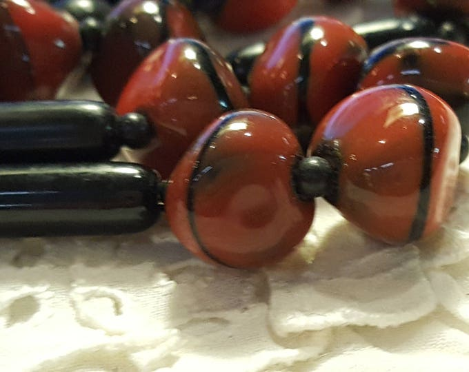 Vintage Beaded Choker Necklace art glass beads 1940s or Jewelry Making Supplies Black Coral Burnt Orange Red