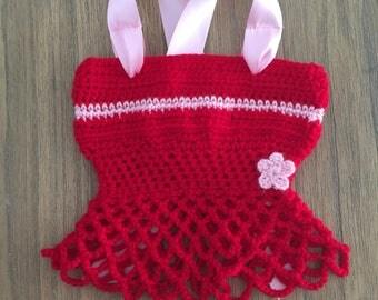 Girl red handmade crochet top