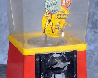 "Chew Giant 1 Cent Bubble Ball Gum Machine by H.K. Hart 13 1/2"" x 71/2"" x 7 1/2"""