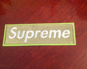 """4.5"""" Supreme green embroidered iron on patch Free USA Shipping"""