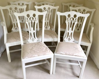 Shabby Chic Dining Chairs Kitchen Dining Room Chairs Wooden French Vintage Antique Painted Chairs Set Of 8 Chairs