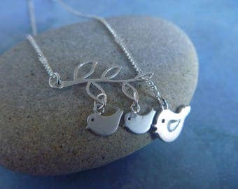 Silver bird and branch Necklace: spring is here!