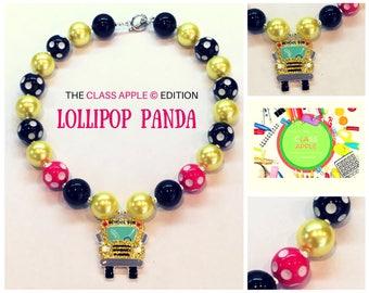 School bus necklace; Teacher necklace; School necklace; Bubblegum necklace; Chunky necklace; Education; School; Teacher; Bubblegum beads