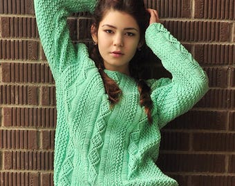 Hand knitted sweater, cotton