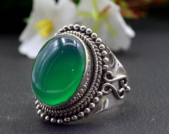 Natural Green Onyx Oval Gemstone Ring 925 Sterling Silver R839