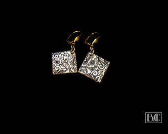 Ormolu floral scroll work earrings