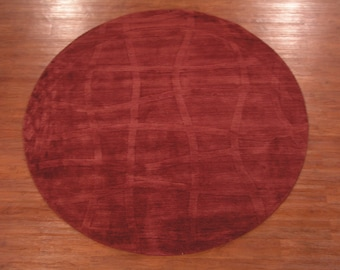 Round 8X8 Modern Area Rug Hand-Made Sculptured Burgundy Oriental Wool Carpet (8.1 x 8.1)