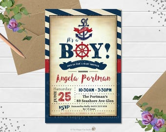 Nautical Baby Shower Invitation, Sailor, Anchor, Baby Boy Shower, Ahoy it's a boy, Red Navy, Personalized, Printable, Digital Print Download