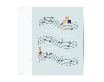 LULLABY Baby Card, Baby Greeting Card, Stationery, Paper Goods, Congratulations Card, Greeting Card