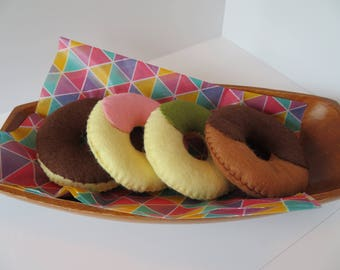 Felt doughnuts set of 4 - Home decor - Pretend toy - Toy sweets - Children's toy