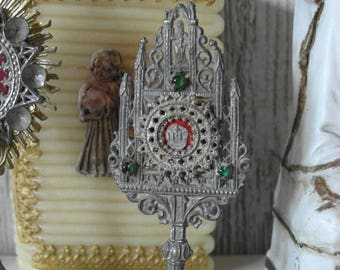 SALE % fine tin miniature monstrance religious sacral weather blessing