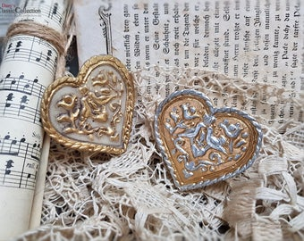 German wax heart with turtledoves ~ german folk art ~ sacral wax art ~ religious decoration ~ hw3963go