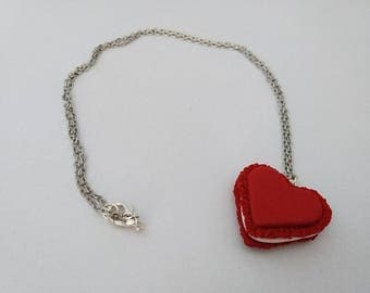 Red heart shaped macaroon necklace