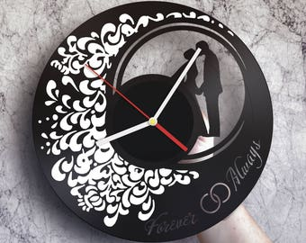 anniversary gifts for men wall clock made of vinyl record anniversary wall art