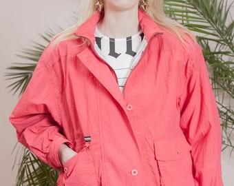 Vintage bomber jacket•90s windbreaker•Vintage jacket•90s bomber•vintage clothing•90s clothing•90s jacket•Lightweight Casual jacket•Coral